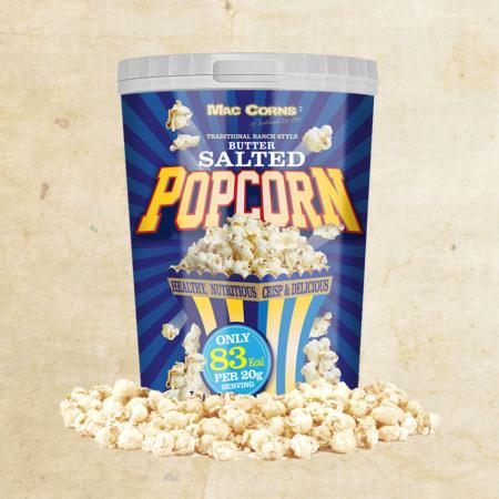 MacCorns 1ltr Render salted Popcorn